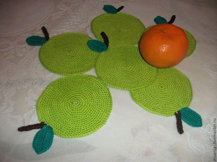 """Купить Чайный набор """"Зеленое яблоко"""" - ярко-зелёный, салфетка, крючком, скатерть, для кухни"""
