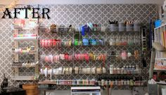 inkingpink: Stenciled pegboard craft room wall