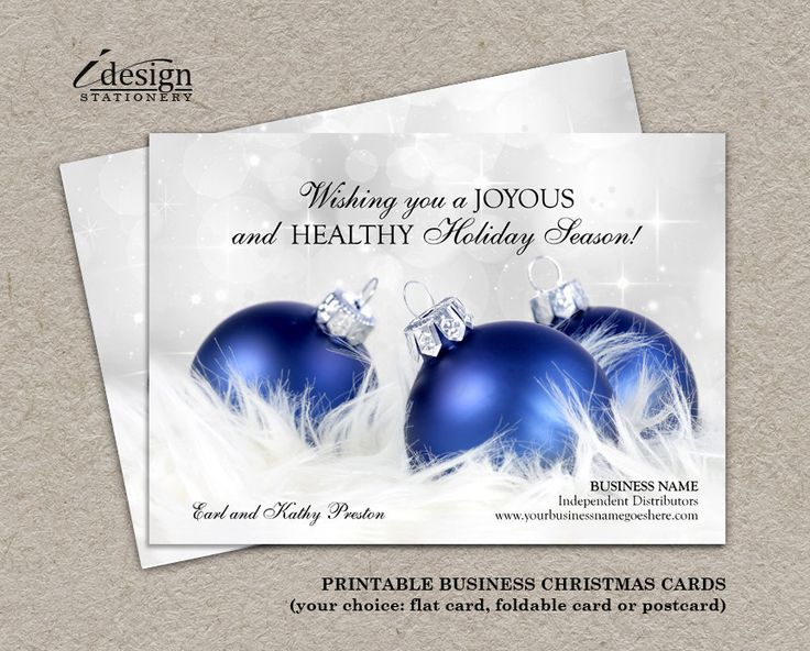 Personalized Business Christmas Cards And Corporate Holiday Greetings Card With Blue And Silver Ornaments by iDesignStationery on Etsy
