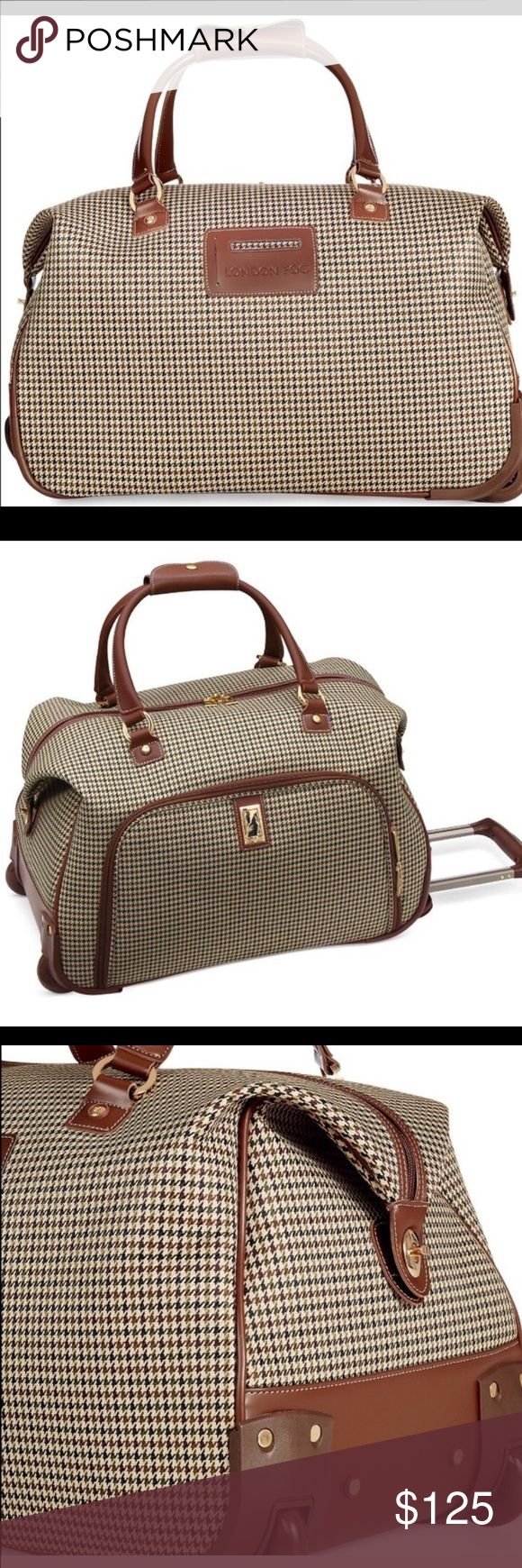 Handcarry Luggage classy & elegant, cool houndstooth exterior rolls effortlessly along on inline skate wheels and open to reveal a sized just right fully line interior. Polyester imported. Dual carry handles. Hidden looking aluminum handle system with channels for added strength. Wide strength prevent tipping. Just used once only. Weight 5lbs. Meets carry on requirement for most major airlines pet free home: guaranteed clean other Bags Travel Bags