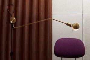 WALL LAMP    tubular brass, brass cap, light bulb, wall mount,   black wire, rocker switch by Achille Castiglioni  Designer Maurizio Navone    Azienda RESTARTMILANO    Dimensioni 93 x 19 cm    Anno 2010