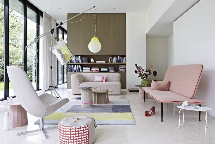 We Love Gelderland!  -7400 chair by Scholten  -6905 sofa by Scholten  -7460 sofa The Rits by Bertjan Pot  -Karimoku Colour Wood tables   by Scholten  -Juffer table by Pieke Bergmans  -Pouffe by Helen van Berkel