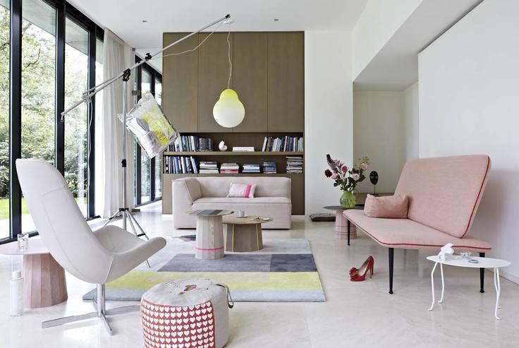 We Love Gelderland!  -7400 chair by Scholten  -6905 sofa by Scholten  -7460 sofa The Rits by Bertjan Pot  -Karimoku Colour Wood tables   by Scholten  -Juffer table by Pieke Bergmans  -Pouffe by Helen van Berkel