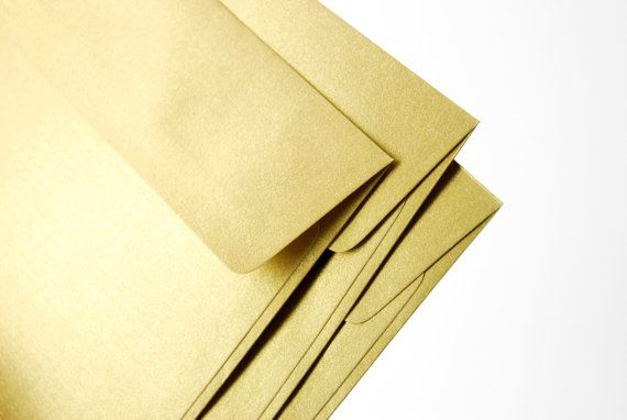 """A7 (5x7) Gold Envelopes - Perfect for 5""""x7"""" wedding invitation and cards (pack of 20 for $8.50 + shipping)"""