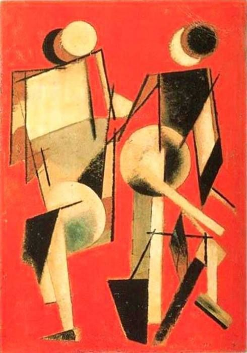 Two Figures on Red, 1920. Varvara Stepanova (1894-1958) was Russian painter and designer of Lithuanian birth. She trained at the Kazan' School of Art (c. 1910–11) where she met Aleksandr Rodchenko, whom she subsequently married.  In 1921, together with Aleksei Gan, Rodchenko and Stepanova formed the first Working Group of Constructivists, which rejected fine art in favour of graphic design, photography, posters, and political propaganda.
