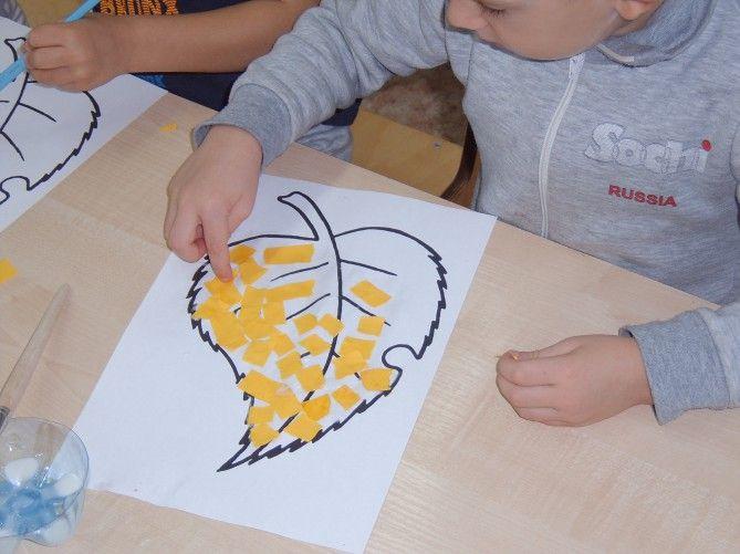 «Осенние листья». Интегрированное занятие для детей средней группы. (Аппликация методом обрывания) Фото
