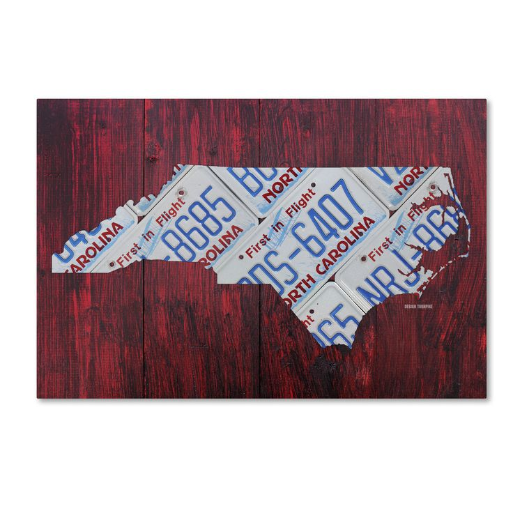 Design Turnpike 'North Carolina License Plate Map' Canvas Wall Art
