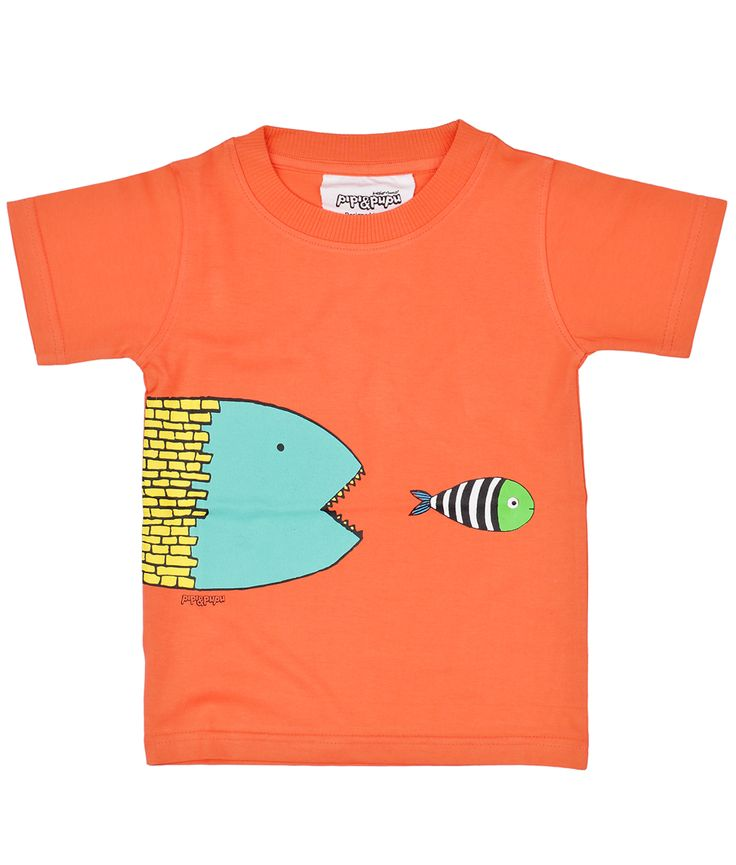 Coral kids T shirt in organic cotton with piranha fish. Playful organic cotton for kids by PIPI & PUPU kids(art)wear :)