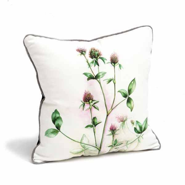 CLOVER CUSHION. Details Dimensions: width: 40 cm depth: 40 cm Composition: Mixed textile, digital print on cotton Colection: HERBARIUM TRANSYLVANIA, 2016 HERBARIUM TRANSYLVANIA is a collection of botanical studies and designs reflecting a taste for pure elegance of natural beauty. it tells stories of slow traveling through Transylvanian landscapes, recording states of mind and experiences of absolute tranquility.
