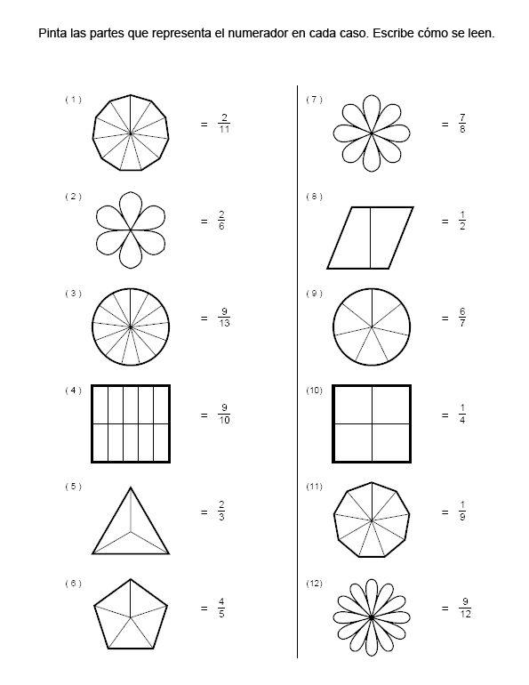 ejercicios de fracciones para colorear - Buscar con Google