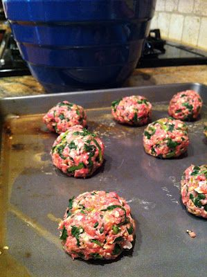Fit to Be Tied: Toddler Meals: Iron-rich Meatballs - Doubled the recipe and it was too much spinach. Next time - and there will be a next time. They were delicious! - I will double everything but the spinach.