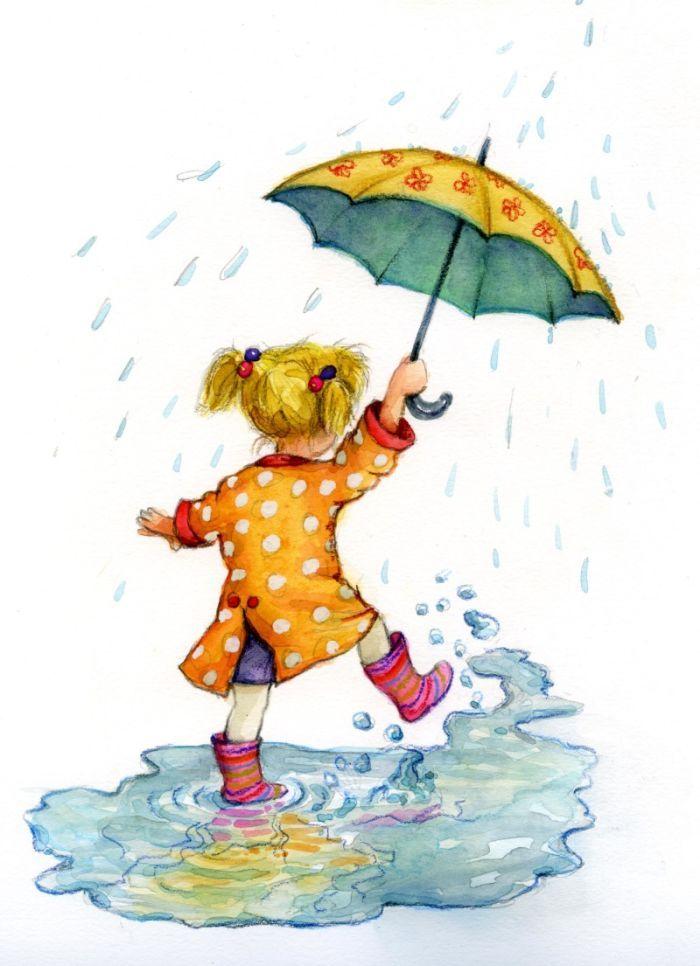 Сестре, девочка под зонтиком открытка
