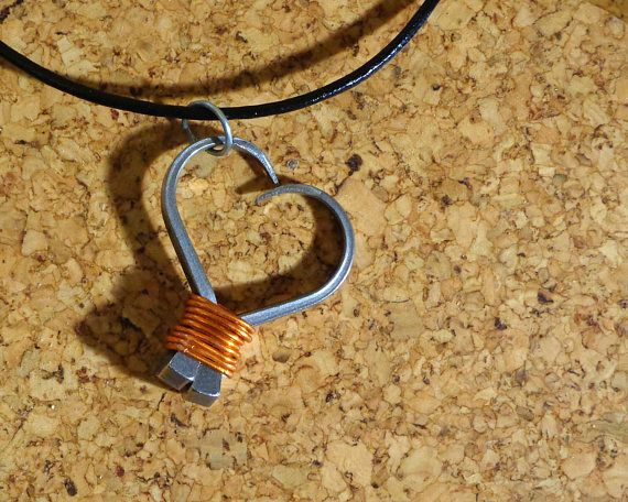 Handmade Wire Wrapped Horse Shoe Nail Heart Pendant and