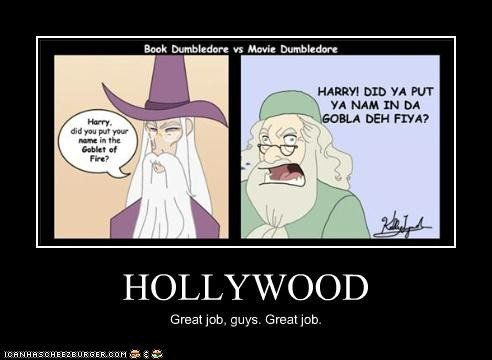 I always make fun of this scene! As you can tell by the picture the book Dumbledore asks Harry calmly vs the movie Dumbledore who shakes Harry violently like a ragdoll. Too funny I'm glad someone made a cartoon of this!