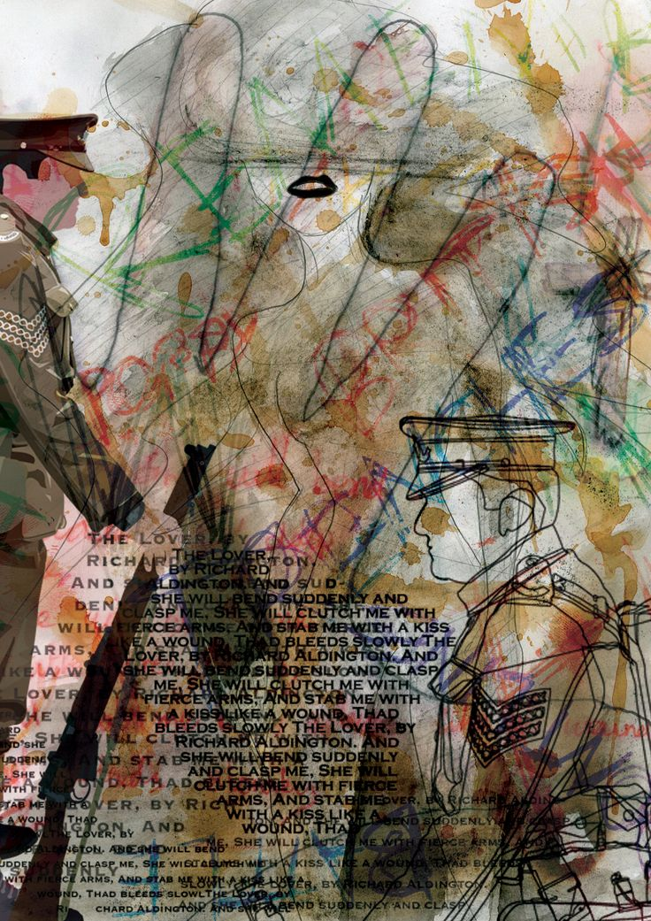 BTEC Extended Diploma in Graphic Design at Dudley College. A mixed media design for a World War One assignment.