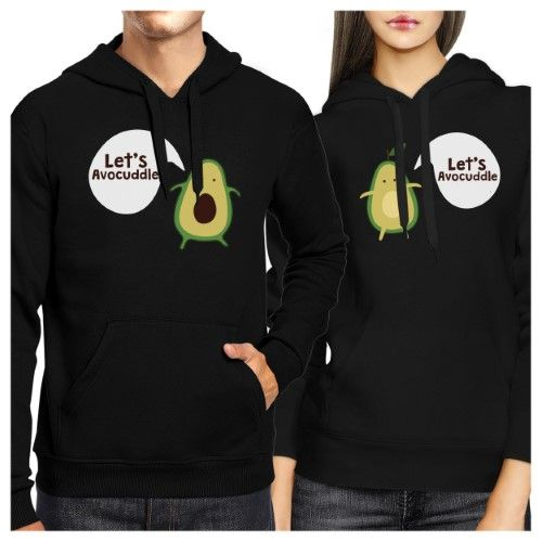 Let's Avocuddle Couple Hoodies His And Hers Matching Holiday Gifts, Size: Men- Small/ Women- X-Large, Black