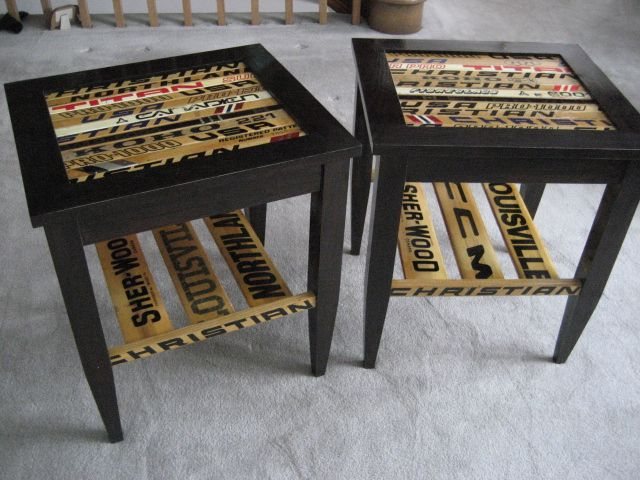 Hockey stick end tables! YES! Maybe this won't be Dan's Man Cave... maybe it'll be MY hockey cave! ;)