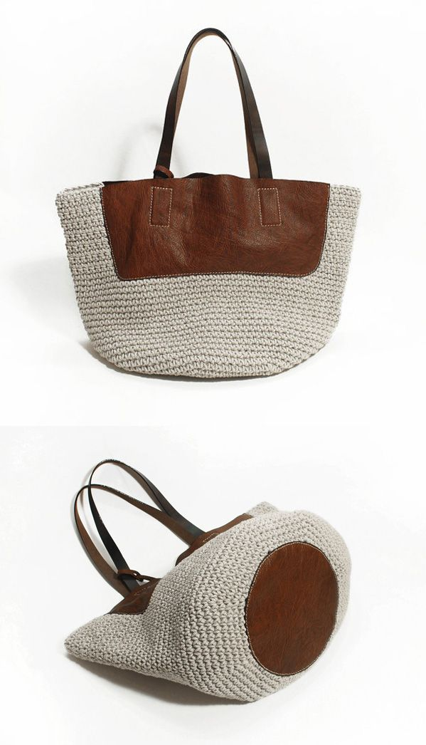 Crochet Genuine Leather Bag - idea