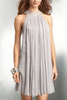 S L Fashions Women S Jewel Neck Multi Tiered Cocktail Dress Nude