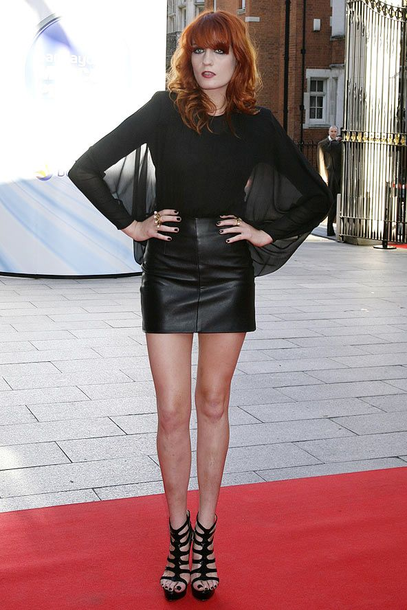 Was Florence the one who made Goth cool again? The answer's yes if this sultry leather and chiffon ensemble is anything to go by. Again, she's ahead of the times – this outfit is not autumn/winter 2011, but instead from 2009, when she attended the Barclaycard Mercury Prize at the Grosvenor House Hotel in London.
