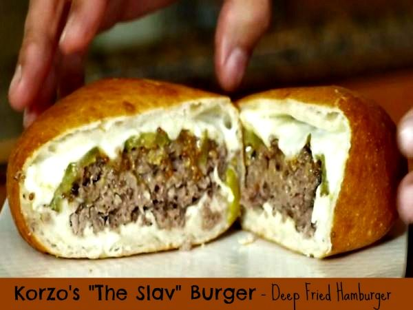 """Korzo's  """"The Slav"""" Burger - Deep Fried Hamburger. This one is different and delicious. #deepfried #hamburger"""