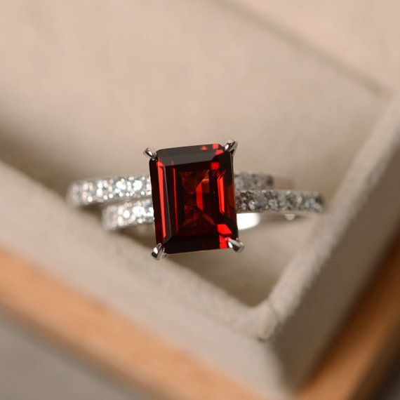 Emerald cut garnet ring sterling silver engagement by LuoJewelry