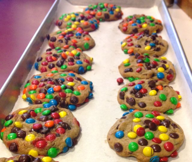 Warm M&Ms chocolate chip cookies. Doesn't get better than that!