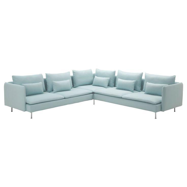 "office | SÖDERHAMN Corner sofa | Isefall light turquoise  | 114 5/8"" x 114 5/8"" | $1298"