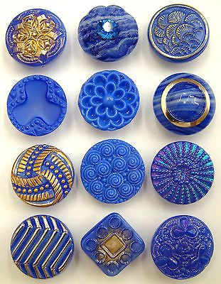 Vintage blue glass buttons