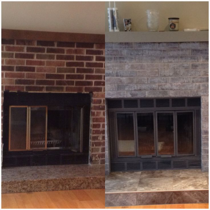White Brick Fireplace With Tile