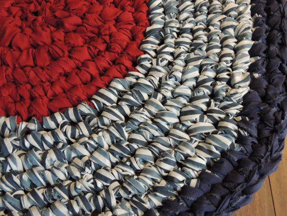 Americana Crochet Rag Rug 32 Across Red White Blue