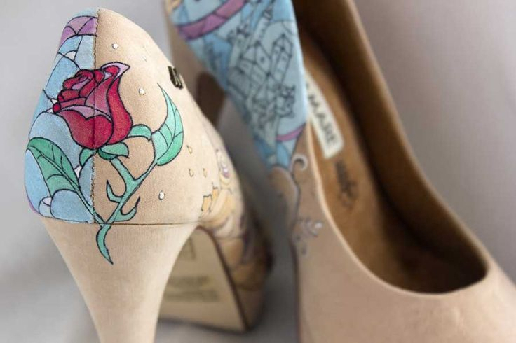 Fairy tale inspired heels bring magic to weeding shoes  This artwork is about Beauty and the Beast