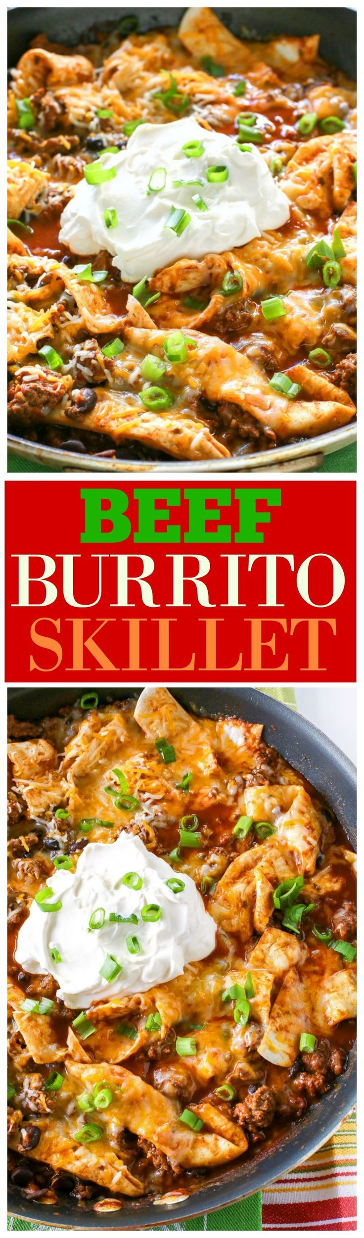 This Easy Beef Burrito Skillet has beef, black beans, salsa, and tortillas all cooked in one skillet. The tortillas turn soft and almost like a dumpling. This tasty dish is done in less than 20 minutes. the-girl-who-ate-everything.com