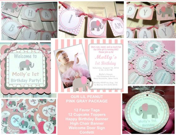 Little Peanut Pink Elephant Birthday Elephant by APartyWithPaper, $95.00