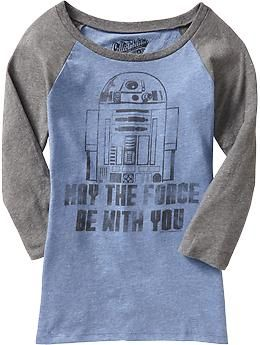 Just bought this tonight - very excited!  Now to watch the movies someday........Women's Star Wars™ Graphic Raglan Tees   Old Navy