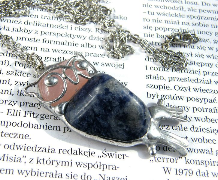 Chains – Necklace: owl navy blue – a unique product by Patrycja-Baran on DaWanda