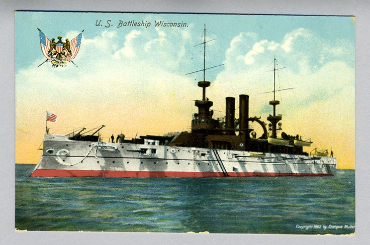 USS Wisconsin BB-9 Unused Postcard - The Illustrated Postal Card Co., New York & Leipzig