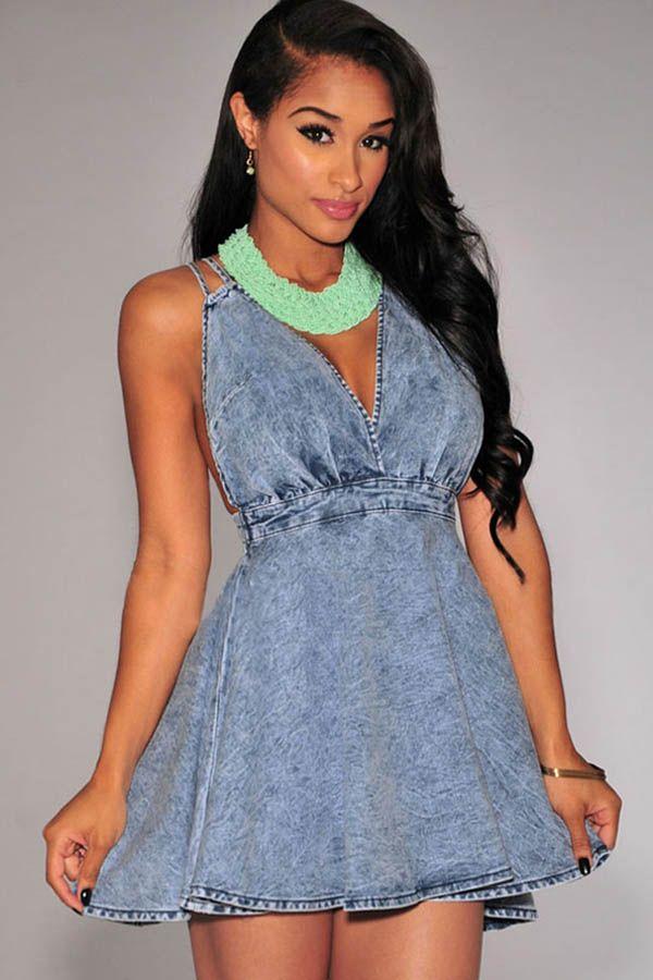 Light Blue V Neck Cross Back Denim Skater Dress #Light #Dress #maykool