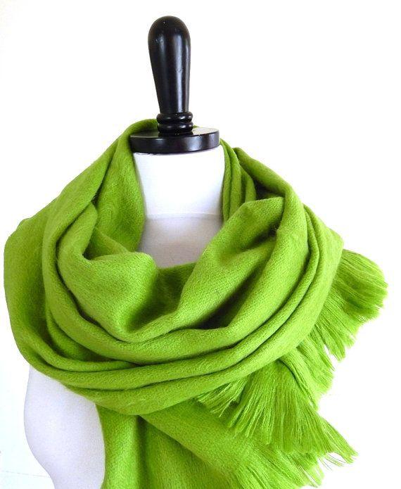 Lime Green Alpaca Scarf Wool Infinity Loop Baby by MiriTextiles  SOOOOO soft and warm!