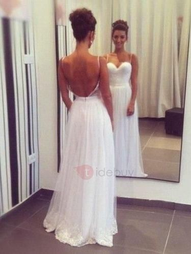 Tidebuy.com Offers High Quality Casual Spaghetti Straps A Line Backless Beach Wedding Dress, We have more styles for Beach Wedding Dresses