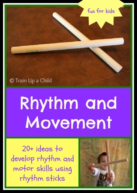 Rhythm and Movement for Kids with Rhythm Sticks - Over 20 suggestions using rhythm sticks to work on rhythm, following directions, fine and gross motor skills, and much more!  One little tool provides an abundance of opportunities to teach little ones through play.  Suitable for babies on up.