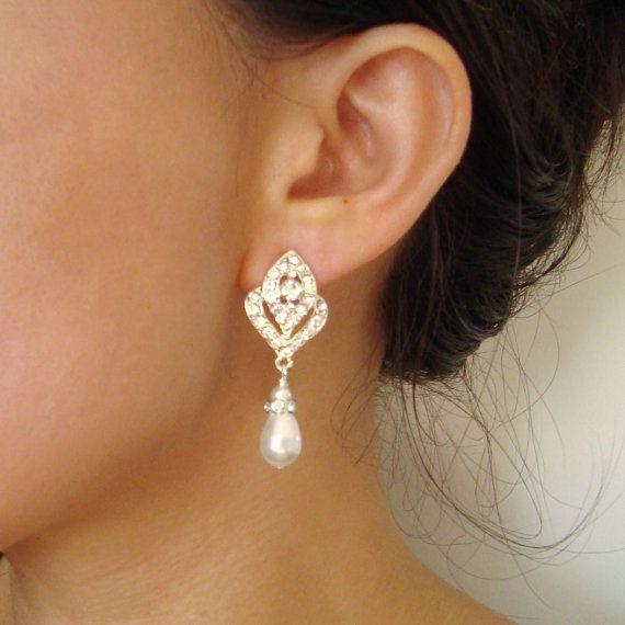 Boucles d'oreilles perle de mariage nuptiale boucles par luxedeluxe, $49.00