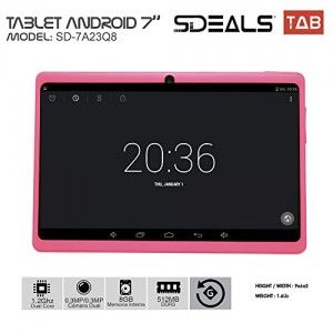 Sdeals. Dual Core Google Android 4.4 KitKat Tablet PC with Touchscreen, 8 gb Bluetooth, HD Dual Camera, Google Play Pre-loaded, 3D-Game Supported (Pink)