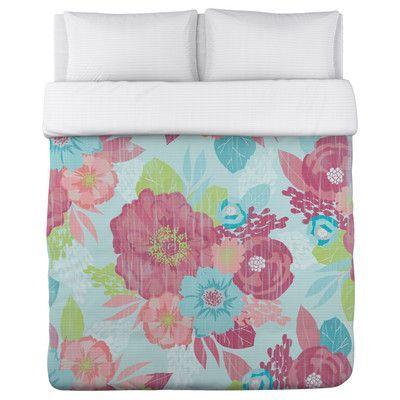 One Bella Casa Romantic Florals Duvet Cover Size: Full Queen
