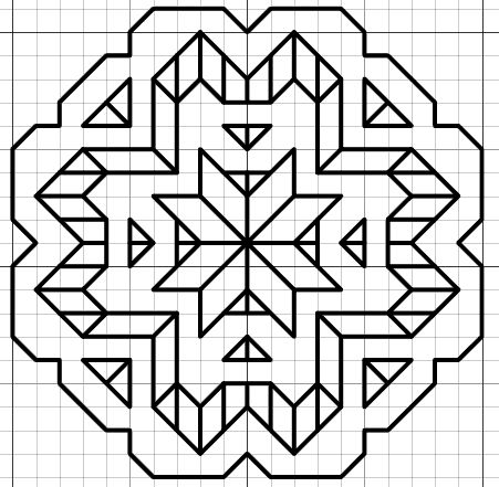 imaginesque.blogspot.co.uk, Blackwork Star Motif Pattern
