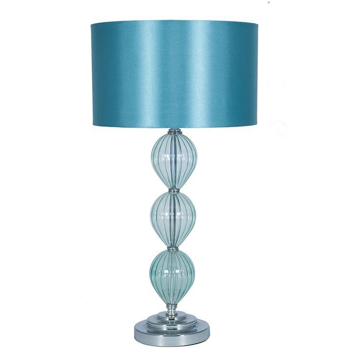 Aqua Glass Table Lamp with Aqua Faux Silk Shade