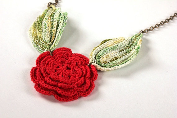 Brass necklace with vintage red crochet flower and green leaves by November16, $26.00