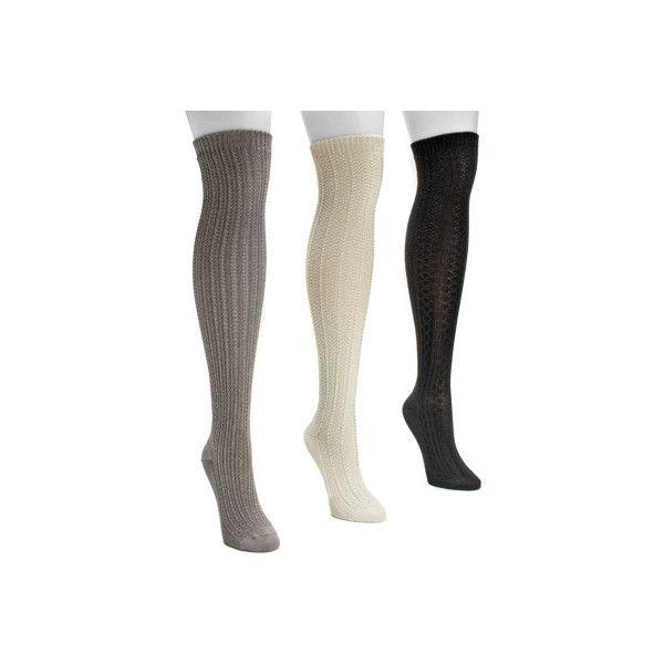 Women's MUK LUKS Over the Knee Textured Socks (3 Pair) - Neutral... ($36) ❤ liked on Polyvore featuring intimates, hosiery, socks, beige, overknee socks, moisture wicking socks, above knee socks, above the knee socks and wicking socks