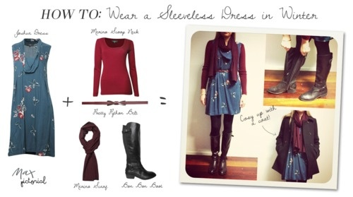 Max Pictorial... How To: Wear a Sleeveless Dress in Winter www.maxshop.com