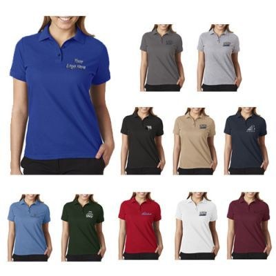 "Custom Imprinted UltraClub Ladies' Basic Blended Piqué Polo T-Shirts: Available Colors: Black, Charcoal, Cornflower, Forest Green, Heather Grey, Khaki, Maroon, Navy, Red, Royal, White. Product Size: S, M, L, XL Imprint Area: Left Chest: 4"" Dia, Optional: Left & Right Sleeve: 3"" W x 2"" H. Carton Weight: 40 lbs. Packaging: 72. Material: Cotton/Polyester. Production Time: 3-4 Working Days. #ultraclub #promotionalproduct #basicblend #poloshirt"